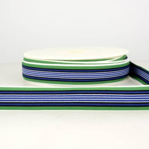 Bilde av Elastisk bånd 2,5cm bredt, striper grønn/blå