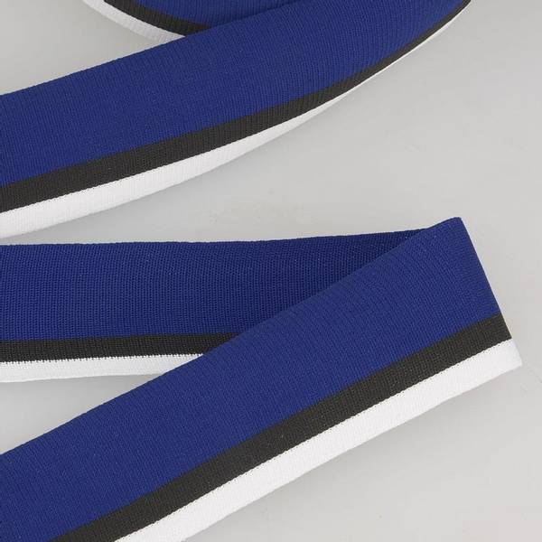 Bilde av Elastisk bånd 4cm bredt, striper blå/svart/hvit