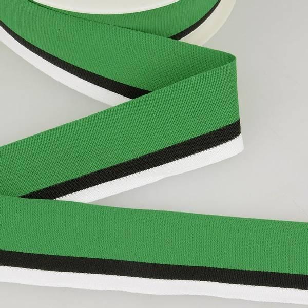 Bilde av Elastisk bånd 4cm bredt, striper grønn/svart/hvit