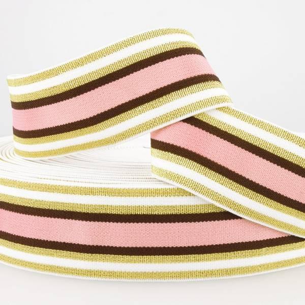 Bilde av 4cm stripet glitterstrikk, rosa/gull