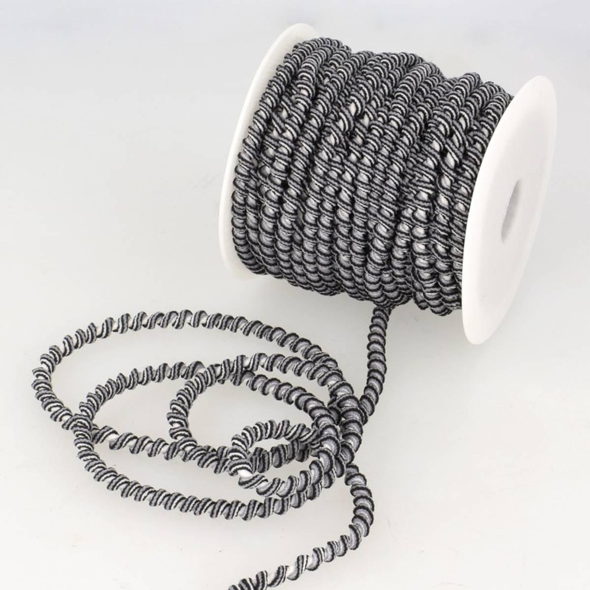 Spiral elastisk bånd, grå/svart/hvit